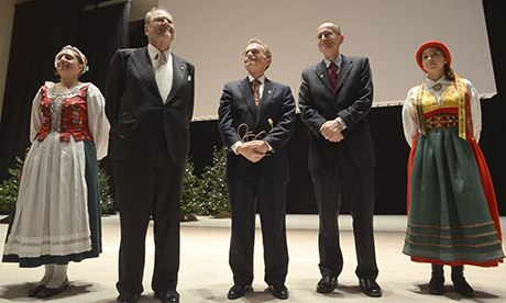 Randy Schekman, centre, at a Nobel prize ceremony in Stockholm. Photograph: Rob Schoenbaum/Zuma Press/Corbis